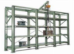 模具货架顶部带葫芦,可自行搬运重型模具